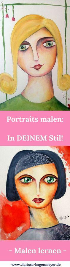 Portrait malen lernen: Ich zeige dir, wie du deine ganz eigenen Portraits in Aquarell malen kannst - ganz einfach und Schritt für Schritt!