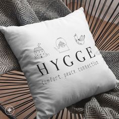 Items similar to Square Pillow Case only - 2 HYGGE Designs - Less House, More Home - Danish Definition for Happiness - Minimalist Scandinavian Folk Design on Etsy Minimalist Scandinavian, Hygge, Living Spaces, Pillow Cases, Throw Pillows, Life, Etsy, Design, Toss Pillows