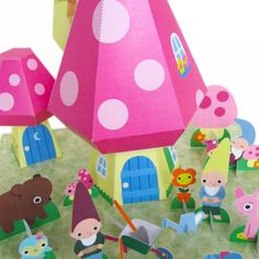 printable paper craft: Gnome Mushroom Cottage Playset