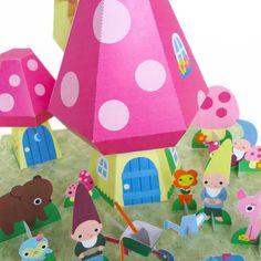 printable paper craft: Gnome Mushroom Cottage Playset