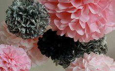 pink black and damask pompoms nursery
