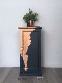 Dark Blue and Copper Leaf Cabinet - #BLUE #Cabinet #Copper #Dark #Leaf #recuperation