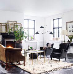 Serge Mouille Day Birger et Mikkelsen living room black white brass velvet beni ourain serge mouille fireplace Lonny Dec12