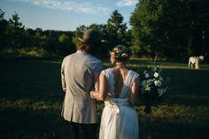 farm wedding newlyweds post ceremony pictures