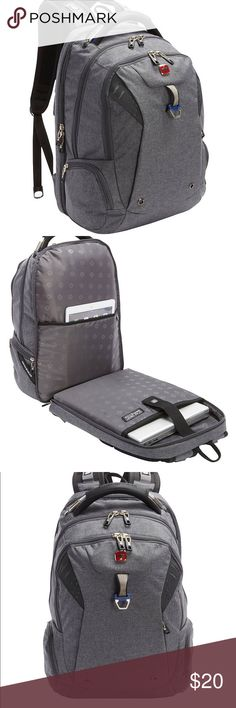 EUC SwissGear Travel Gear Scansmart Backpack Barely used great travel backpack in heathered grey. Padded laptop compartment. Padded cable handle. Zippered mesh pocket. Organizer pocket. Shoulder strap system. Airflow back system. Water bottle pockets and pass through strap on back. SwissGear Bags Backpacks