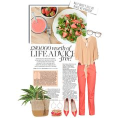 Two shades of the same color is such a cute look. Works well with greens, too. Senior Girls, Colored Jeans, Fashion Forward, Girl Fashion, Coral, My Style, Spring, Green, Polyvore