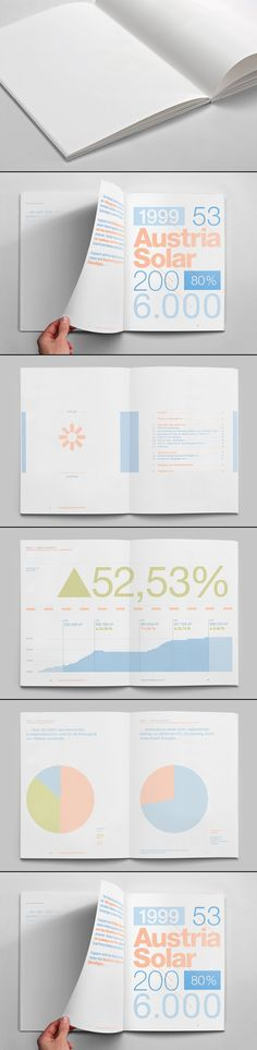 Annual report for Austria Solar. The entire publication has been printed using thermochromic ink so that the only way to read it is to place it under the direct sunlight, thus making the info visible.