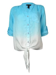 INC International Concepts Women's Ombre Knotted Linen Shirt ** Find out more details by clicking the image : Fashion