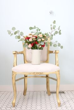 Gold French Chair, blush florals | This Mamas Dance-2