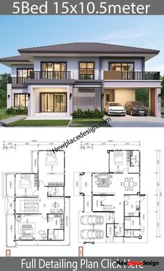 House design plan 15 with 5 bedrooms is part of Home design plans - House design plan 15 with 5 bedrooms Style ModernHouse descriptionNumber of floors 2 storey housebedroom 4 roomstoilet 4 roomsmaid's room 2 Storey House Design, Bungalow House Design, Modern House Design, Modern Houses, Layouts Casa, House Layouts, Beautiful House Plans, Dream House Plans, 5 Bedroom House Plans