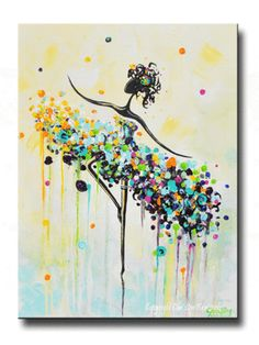 """The Dancer"" - Contemporary art, unique impasto fine art, abstract, painting.  Modern giclee print  on gallery canvas, dance figurative, wall art. Palette knife paintings. Colorful, aqua blue, yellow, purple, orange, green, pink, white.  Home decor, dance artwork, ballet, girls decor.  By Internationally Collected Artist, Christine Krainock - Contemporary Art by Christine"