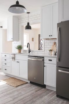 Eye-Opening Tips: Kitchen Remodel On A Budget Blue white kitchen remodel roman shades.Ikea Kitchen Remodel White kitchen remodel back splashes.Kitchen Remodel Layout Before After. White Kitchen Decor, Big Kitchen, White Kitchen Cabinets, Kitchen Cabinet Design, Kitchen Redo, Kitchen Ideas, Dark Cabinets, Kitchen Designs, Awesome Kitchen
