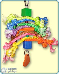 Rope Beads and Wood Bird Toy
