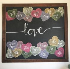 Valentine chalkboard art, candy hearts chalkboard, conversation hearts chalkboard art,
