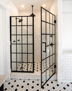 In this incredible bathroom renovation, black and white hexagon mosaic floors with a mid-century modern vibe are combined with a classic white subway wall tile and dramatic, modern French door shower doors for a perfectly blended, classic design – guaranteed to stand the test of time! Thanks so much for the design inspiration, @springconstructionservices! Please contact a DreamLine Shower Door Design Consultant at 866-282-8413! Interior Exterior, Bathroom Interior Design, Dreamline Shower, Master Bath Remodel, Up House, Dream Home Design, Bathroom Inspiration, Design Inspiration, Bathroom Inspo