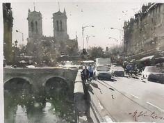 Joseph Zbukvic, A quickie to warm up for big piece. That never worked out Watercolor Architecture, Watercolor Landscape, Art And Architecture, Watercolor Paintings, Watercolours, Joseph Zbukvic, Painting Workshop, Traditional Paintings, South Of France