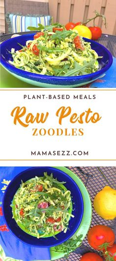 Raw Pesto Zoodles   #healthy #plantbased #vegetarian #recipes Vegan Zoodle Recipes, Raw Vegan Recipes, Vegetarian Recipes, Vegan Food, Vegan Raw, Vegan Life, Healthy Recipes, Side Dish Recipes, Fish Recipes