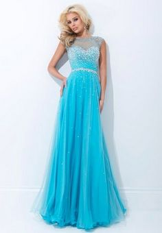 A-line Bateau Sleeveless Tulle Blue Prom Dress / Evening dress With Beading #FK013