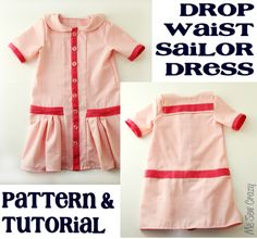 DIY Drop Waist Sailor Dress - FREE Sewing Pattern and Tutorial