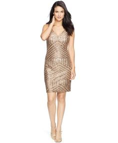 Lauren Ralph Lauren Sequined Geometric Dress | macys.com