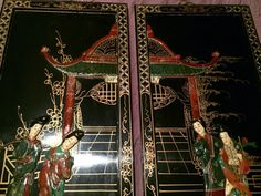 Pair of Vintage diptych Coromandel Panels with stone appliques
