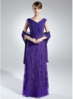 Mother of the Bride Dresses - $180.99 - A-Line/Princess Off-the-Shoulder Floor-Length Chiffon Tulle Mother of the Bride Dress With Ruffle Lace  http://www.dressfirst.com/A-Line-Princess-Off-The-Shoulder-Floor-Length-Chiffon-Tulle-Mother-Of-The-Bride-Dress-With-Ruffle-Lace-008006021-g6021