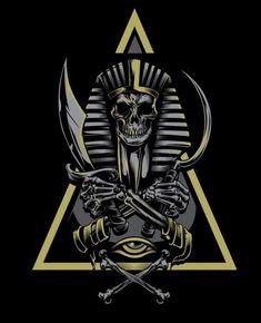 More Vector Work - More Vector art for Clothing brands - Osiris Tattoo, Anubis Tattoo, Geniale Tattoos, Egypt Art, Skull Tattoos, Dragon Tattoos, Skull Art, Dark Art, Tattoo Drawings