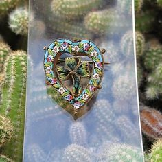19th century micro mosaic heart shaped brooch