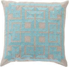 Oatmeal and Pale Blue Beth Lacefield Modern Coastal Pillow 22 x 22