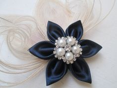 Navy Blue Wedding Fascinator Navy & Ivory by GibsonGirlGarters