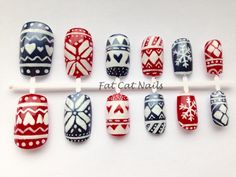 Fairisle print hand painted false nail set.red white blue nail art.christmas stocking stuffer.press on nails gift.christmas sweater print by FatCatNails on Etsy https://www.etsy.com/listing/213557006/fairisle-print-hand-painted-false-nail