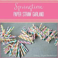 Springtime Paper Straw Garland by sassystyleredesign.com