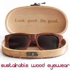 wood sunglasses in a wood box.  Sustainable and gives back to non-profits. Proof Sunglasses
