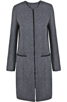 To find out about the Grey Long Sleeve Zipper Pockets Woolen Coat at SHEIN, part of our latest Outerwear ready to shop online today! Coat Dress, Jacket Dress, Woolen Dresses, Modele Hijab, Sewing Blouses, Black And White Blouse, Abaya Fashion, Wool Coat, Clothing Patterns