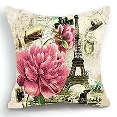A beautiful home is a happy home therefore consider using pink throw pillows. Pink accent pillows can either be mild and beautiful or vivid and bold. Retro Vintage Paris Effiel Tower Pink Flower Home Pillow Case Cushion Cover 18 Paris Home Decor, Pink Home Decor, Pink Throw Pillows, Throw Pillow Cases, Accent Pillows, Toss Pillows, Cover Pillow, Bed Pillows, Cushions