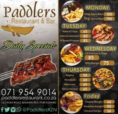 There is something for everyone at Paddler's Restaurant & Bar including our finger licking good daily specials! Click here to see them all now! Chicken And Chips, Daily Specials, Spare Ribs, Calamari, Prawn, Restaurant Bar, Spicy, Finger, Beef