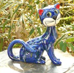 Gartendeko Katze sitzt Keramik Gartendekoration Tierfigur blaue Effektglasur  http://stores.ebay.de/Lydia-s-Wohn-Garten-Ambiente_Garten-und-Terasse_W0QQfsubZ253412019