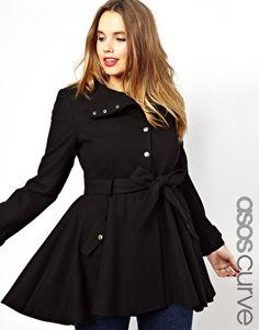 ASOS CURVE Fit & Flare Coat - Curve & Plus Size
