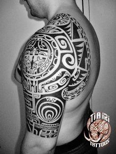 Polynesian Shoulder & Chest Tattoos - Po'oino Yrondi