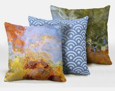 Three decorative pillows with abstract art, 16x16, 18x18, 20x20, blue accent pillows, throw pillows, finished complete pillows, Dream 4