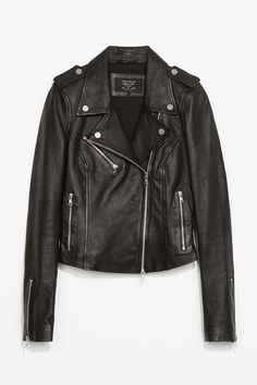 """The Best Of The Basics: The Buys That Defy Seasons #refinery29  http://www.refinery29.com/best-basics-shopping-guide#slide-10  Moto Jacket: ZaraWhy It's A Best Buy: A surefire steal for real leather, this topper has all the required elements of the perfect motorcycle jacket: zipped sleeves, snap closures, and a whole lot of attitude. The R29 Review: """"Bought this on a major sale whim right after the holidays last year, and will never turn back — super-class..."""