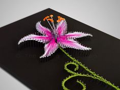 "String art ""The Stargazer Lily"". String art flower. Purple lily. String art lily. Pink lily. Original gift ideas."
