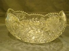 Fry cut glass poppy pattern banana boat bowl