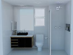 Banheiro Suíte - Branco, preto, madeira Projeto: Alessandra Onofri