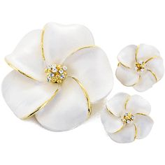 White Hawaiian Plumeria Swarovski Crystal Flower Pin Brooch And Earrings Gift Set