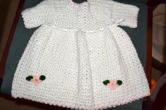 white crochet baby dress with flowers size 1 to by creatingwithni