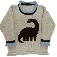 Ravelry: Dino Pullover pattern by Gail Pfeifle, Roo Designs Baby Boy Knitting Patterns, Baby Cardigan Knitting Pattern, Knitting For Kids, Knitting Yarn, Knit Patterns, Dinosaur Sweater, Animal Sweater, Crochet For Boys, Baby Sweaters