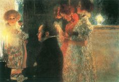 """Schubert at the Piano II"" - Gustav Klimt (1889, Golden Phase), Destroyed * Serena Lederer, a wealthy Viennese art patron who collected 14 of Klimt's paintings, including a portrait by Klimt of Egon Schiele's mistress, Valerie Neuzil.  This and the other Klimt paintings collected by Lederer, were destroyed in 1945 when retreating Nazis set Schloss Immendorf on fire."