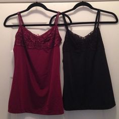 Spaghetti Strap Shirt. Bundle of 3. Size S Bundle of 3 Spaghetti Strap Shirts (2 Black & 1 Red Wine) size S. Adjustable straps and some lace on front. Used once good condition. Material 84% Nylon 16% Spandex Tops Tank Tops