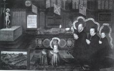 The memorial of Lord Darnley. The Earl (Matthew Stewart) and the Countess (nee Margaret Douglas, daughter of Margaret Tudor) of Lennox kneel with their younger son Charles and their grandson James of Scotland, demanding vengeance for Lord Darnley's death in front of his tomb, by Livinus De Vogelaare  Tudor Place